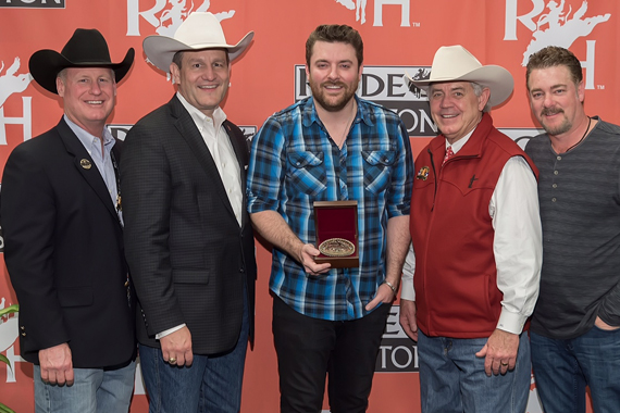 Pictured (L-R): Dan Cheney, Vice President & COO Houston Livestock Show & Rodeo;  Joel Cowley, President & CEO Houston Livestock Show & Rodeo; Chris Young, Jack Lyons, Chairman of the Board Houston Livestock Show & Rodeo; Rob Beckham, WME