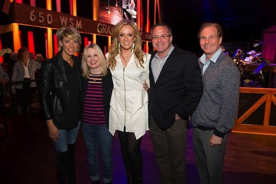 Pictured: (L-R): Stephanie Wright, UMG Nashville VP of A&R; Cindy Mabe, UMG Nashville President; Clare Dunn; Pete Fisher, Grand Ole Opry VP/GM; Butch Waugh, Red Light Management. Photo: Chris Hollo for the Grand Ole Opry
