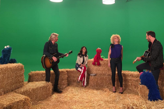 Little Big Town with Cookie Monster, Elmo and Grover. Photo: instagram.com/sesamestreet