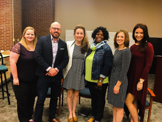 Pictured (L-R): Lisa Nolan (SOLID University Outreach Co-Chair/ For the Record Entertainment), Tim Gray (SOLID University Outreach Chair/ Grayscale Entertainment Marketing), Faithe Parker (Marbaloo), Chitquita McCarthur (SONY), Hannah Clark (Ryman Hospitality Properties) and Halie Hampton (Maverick Management)