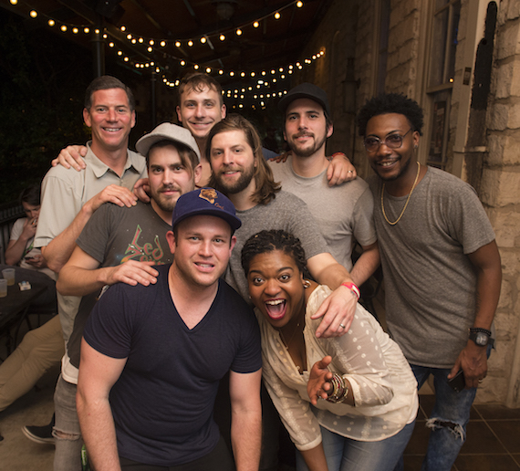 BMI's Mark Mason gathers for a photo with Welshly Arms at BMI's Indie Rock Showcase during SXSW at Trinity Hall at Old School on March 17, 2016, in Austin, TX. (Erika Goldring Photo)