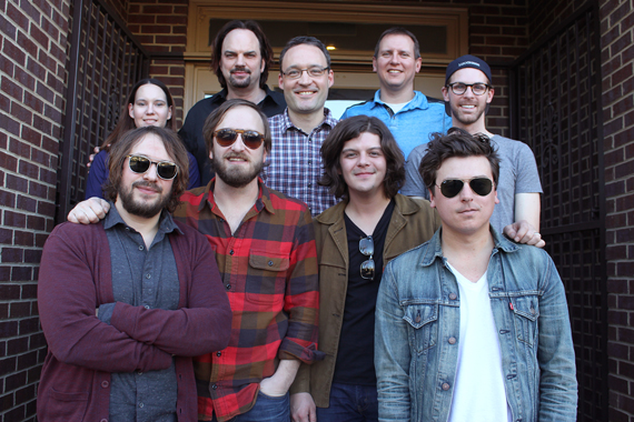 The Wild Feathers pose with MusicRow staff.