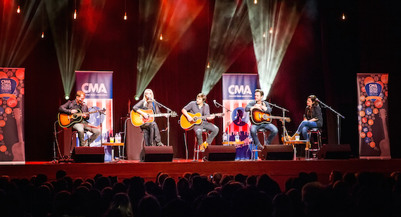 Pictured (L-R): Shane McAnally, Ashley Monroe, Charlie Worsham, Charles Esten, and Lori McKenna perform during the CMA Songwriters Series Thursday at indigo at The O2 in London. Photo: Anthony D'Angio/CMA
