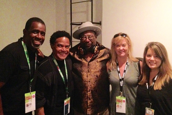 SESAC's Trevor Gale, James Leach, Ellen Truley and Liz Cost visit with funk music legend George Clinton before he hit the stage for a three hour show.