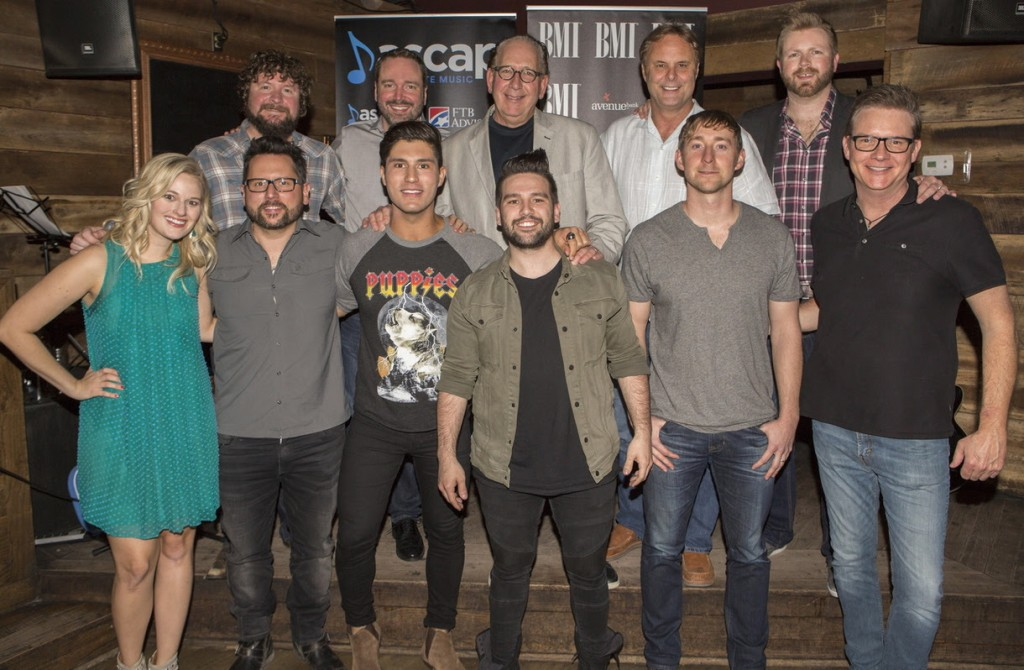 Pictured (L-R): (front) ASCAP's Beth Brinker, DeStefano, Smyers, Mooney, Gorley, BMI's Perry Howard, (back) Combustion Music's Chris Van Belkom, Sony/ATV Music Publishing's Josh Van Valkenburg, Warner Music Nashville's John Esposito and Scott Hendricks, and Warner/Chappell Music Publishing's BJ Hill. Photos by Ed Rode for ASCAP.