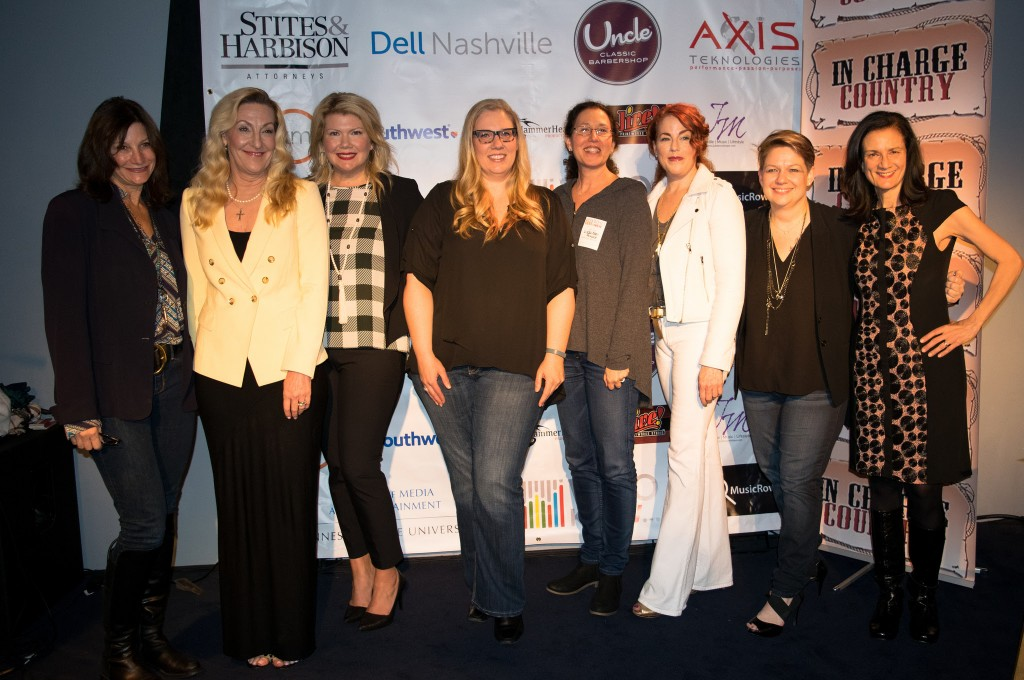 Pictured (L-R): Tracy Gershon (Rounder Records), Ree Guyer Buchanan (WrenSong Music Publishing), Marcie Allen (MAC Presents), Julie Boos (Flood, Bumstead, McCready & McCarthy), Linda Edell Howard (Adams and Reese, LLP), Sloane Scott (FLO.CO), Heather McBee (Nashville Entrepreneur Center) and Leslie Fram (CMT) celebrate a successful evening at WHO KNEW™ Presents: Women Who Rock Thursday, March 10 at 3rd and Lindsley. Photo: Autumn Haile