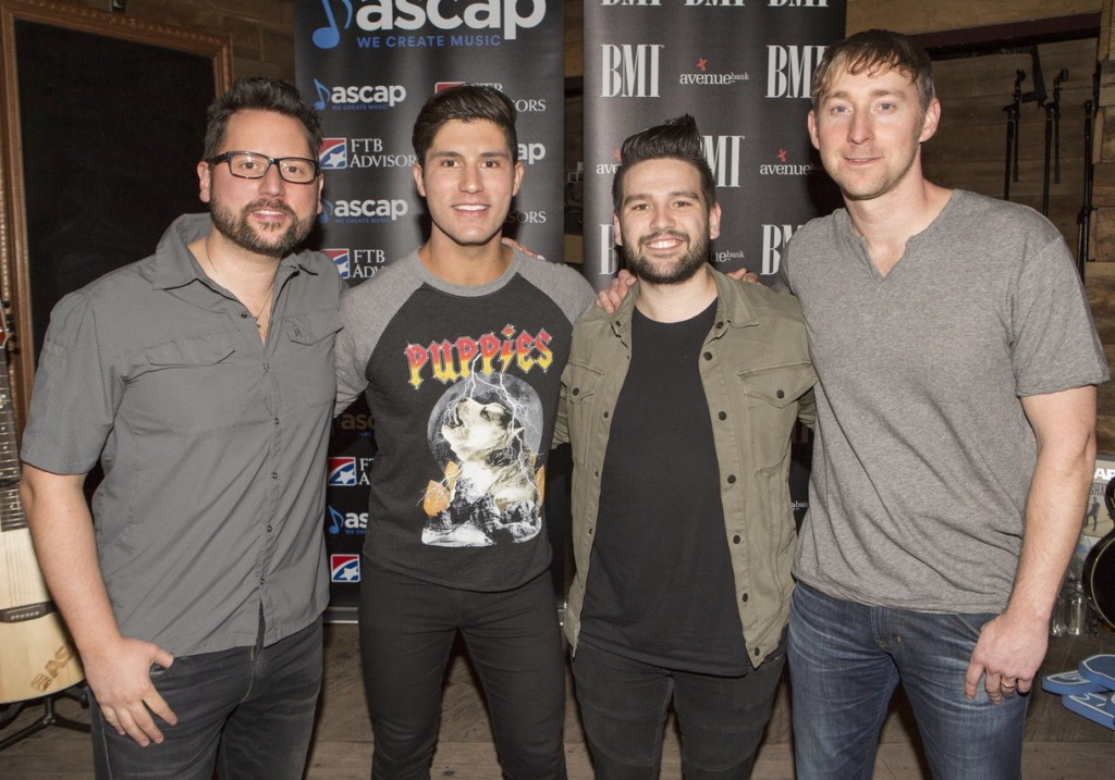 Pictured (L-R): Co-writers Chris DeStefano, Dan + Shay's Dan Smyers & Shay Mooney, and Ashley Gorley