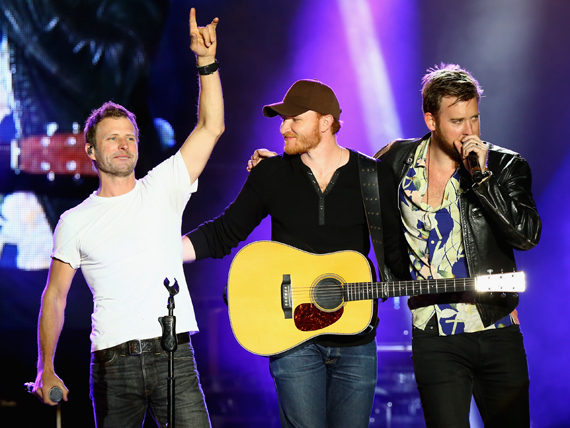 """LAS VEGAS, NEVADA - APRIL 02: (L-R) Singers Dierks Bentley, Eric Paslay and Charles Kelley perform onstage at the 4th ACM Party for a Cause Festival at the Las Vegas Festival Grounds on April 2, 2016 in Las Vegas, Nevada. (Photo by Mark Davis/Getty Images for ACM)"""