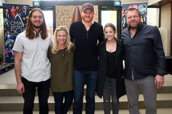 Pictured (L-R): Brenden Oliver, CMA Membership and Balloting Manager; Brandi Simms, CMA Senior Director of Membership and Balloting; Eric Paslay; Rachel Silver, Red Light Management; Scott Scovill, CMA Board member and owner of Moo TV, CenterStaging, and Moo Creative Media. Photo: Kayla Schoen / CMA