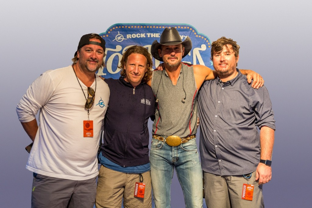 Pictured (L-R): Chris Stacey, founder, Rock The Ocean/GM, Dot Records; Evan Harrison, CEO, HUKA Entertainment; Tim McGraw; A.J. Niland, Chief Experience Officer, HUKA Entertainment