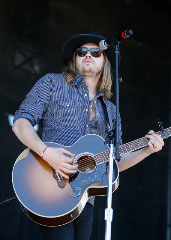 """""""LAS VEGAS, NEVADA - APRIL 02: Musician Michael Hobby of A Thousand Horses performs onstage at the 4th ACM Party for a Cause Festival at the Las Vegas Festival Grounds on April 2, 2016 in Las Vegas, Nevada. (Photo by Isaac Brekken/Getty Images for ACM)"""""""