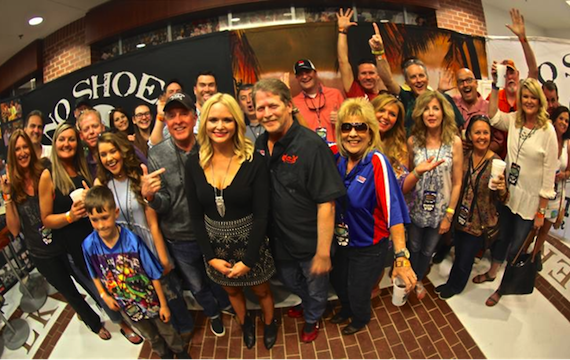 Miranda Lambert poses with Southeast radio representatives prior to a concert in Auburn, Alabama.