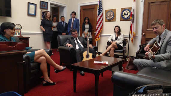 Ashley Gorley performs for Congresswoman Judy Chu and staff.