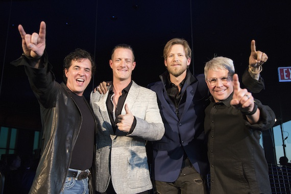 Pictured (L-R): Scott Borchetta, Pres./CEO, Big Machine Label Group; Tyler Hubbard; Brian Kelley; Jimmy Harnen, Exec. VP, BMLG/Pres., Republic Nashville. Photo: Justin Mrusek