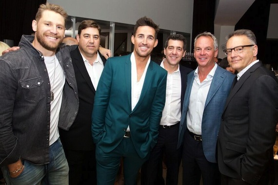 Pictured (L-R): Columbia Nashville's Chase Rice; Jim Catino, VP, A&R, Sony Music Nashville; RCA Nashville's Jake Owen; and Sony Music Nashville's EVP/COO Ken Robold, EVP, Promotion and Artist Development Steve Hodges and Chairman & CEO Randy Goodman. Photo: Meishach Moore