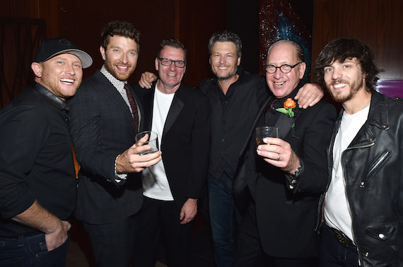 Pictured (L-R): Cole Swindell, Brett Eldredge, Peter Strickland (EVP & GM, WMN), Blake Shelton, John Esposito (President & CEO, WMN), Chris Janson
