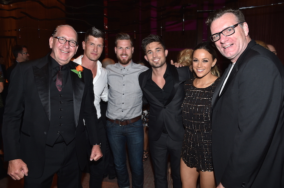 Pictured: John Esposito and Peter Strickland pose with WMN artists High Valley, Michael Ray and Jana Kramer.