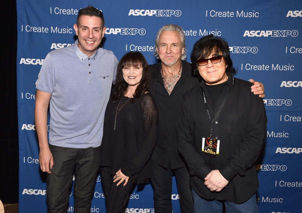 "Pictured (L-R): ASCAP Pop/Rock VP Marc Emert-Hunter, singer Pat Benatar, musician Neil Giraldo and ASCAP Membership EVP John Titta attend the 2016 ASCAP ""I Create Music"" EXPO. Photo by Lester Cohen/Getty Images for ASCAP"