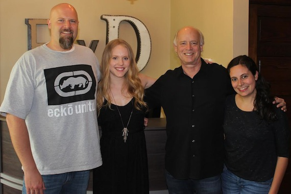 Pictured (L to R): Devon Devries, VP of Film/TV- A&R; Leah Nobel; Kerry O'Neil, Co-Owner of Big Yellow Dog; Alex Stefano, Film & TV Music Manager
