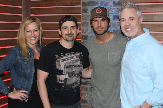 """Brad Paisley debuted """"Without A Fight"""" on 'America's Morning Show' on Friday, May 13. Pictured (L-R): Kelly Ford, Brad Paisley, Chuck Wicks and Blair Garner"""