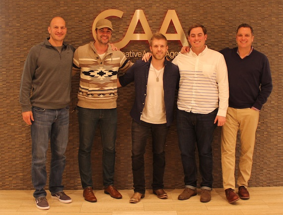 Pictured (L-R): Brett Saliba, CAA; Jared Evans, Red Light Management; Brandon Ray; Justin Cahill, CAA; Brian Hill, CAA