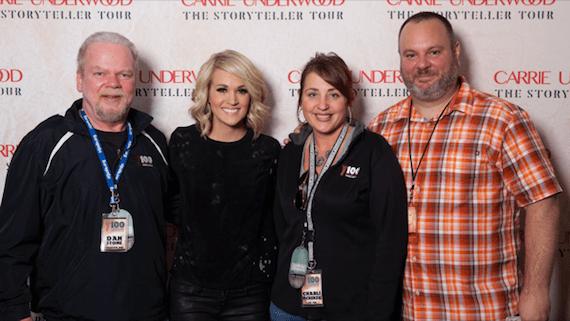 Pictured (L-R): WNCY PD Dan Stone; 19 Recording/Arista Nashville's Carrie Underwood; WNCY MD Charli McKenzie; Arista Nashville Regional Promo Manager Luke Jensen