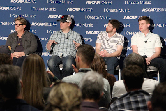 "Pictured (L-R): Songwriter Bonnie Baker; Cornman Music GM & VP, Creative, Nate Lowery; Black River Entertainment Creative Director Dave Pacula; Songwriter Forest Glen Whitehead speak during the 'This Is Country Music' panel, part of the 2016 ASCAP ""I Create Music"" EXPO. Photo: Tommaso Boddi/Getty Images for ASCAP"