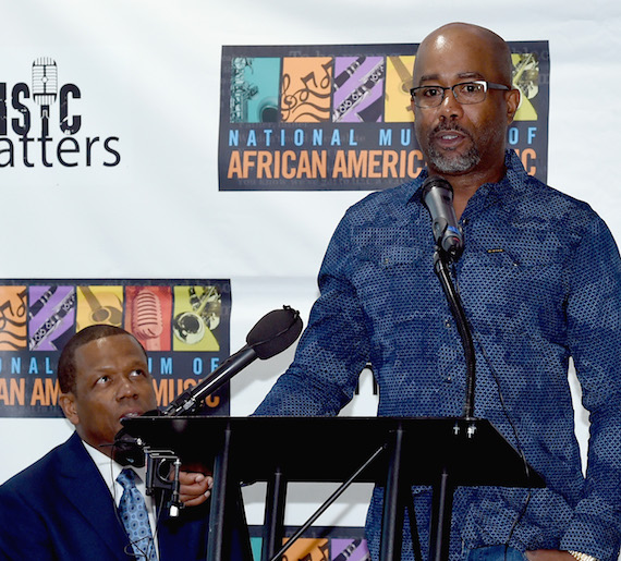 Pictured: Kevin P. Lavender NMAAM Board/Fifth Third Bank and Singer/Songwriter/NMAAM National Chairperson Darius Rucker attend NMAAM National Chairs And Fundraising Progress Press Conference at Nashville Visitor Center on May 2, 2016 in Nashville, Tennessee. Photo by Rick Diamond/Getty Images for National Museum of African American Music