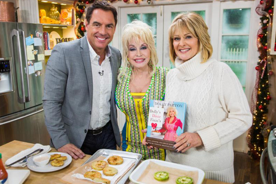 Pictured (L-R): Mark Steines Dolly Parton and Cristina Ferrare. Photo: Triple7PR