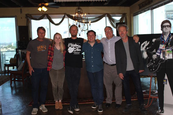 Pictured (L-R): Chuck Fleckenstein (GM and COO, Still Working Music), Chelsea Kent (Creative Director, Still Working Music), Alex Orbison (President, Still Working Music), Gordie Sampson, Derek Crownover (Gordie Sampson's attorney, Dickinson Wright), Tommy Lee James (CCO, Still Working Music)