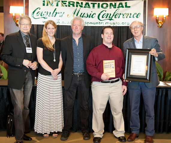 Pictured (L-R): Dr. James Akenson, Co-Chair of the International Country Music Conference; Beville Dunkerley, editor at Rolling Stone Country, which sponsors the Chet Flippo Award; award winner Pete Finney; Michael Gray, Country Music Hall of Fame and Museum, accepted on behalf of winner Peter Guralnick; and Dr. Don Cusic, Co-Chair of the International Country Music Hall of Fame.