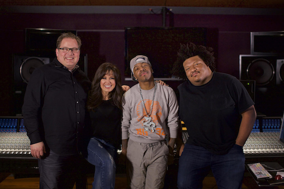 Pictured (L-R): Jason Deere, Marie Osmond, SisQó (Dru Hill) and engineer Josh Connelly at Audio Mix House in Las Vegas, Nevada.