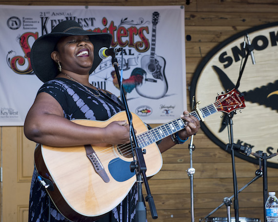 Kyshona Armstrong performs at the Smokin' Tuna Saloon during Key West Songwriters Festival on May 5, 2016. (Erika Goldring Photo)