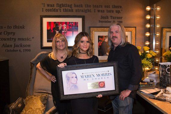 Pictured (L-R): Kellie Morris, Maren Morris, Scott Morris. Photo: Rachael Black/Grand Ole Opry