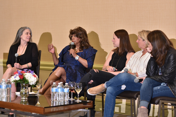 Pictured (L-R): Moderator Judy Tint, The Supremes' Mary Wilson, and The Love Junkies Hillary Lindsey, Liz Rose and Lori McKenna. Photo: Music Biz.