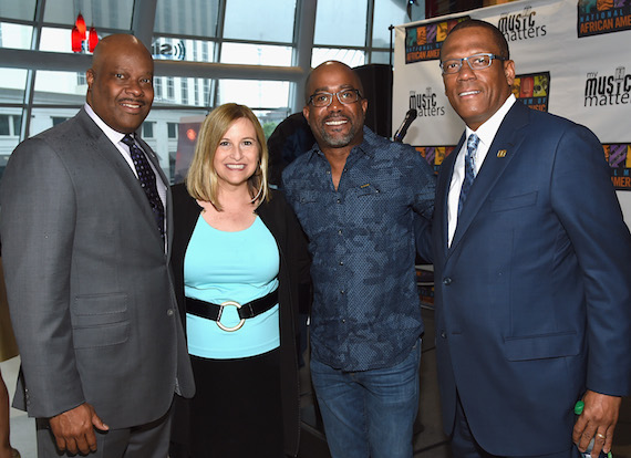 Pictured (L-R): H. Beecher Hicks III, NMAAM President/CEO, Nashville Mayor Megan Barry, Singer/Songwriter/NMAAM National Chairperson Darius Rucker and Kevin P. Lavender NMAAM Board/Fifth Third Bank attend NMAAM National Chairs And Fundraising Progress Press Conference at Nashville Visitor Center on May 2, 2016 in Nashville, Tennessee. Photo: Rick Diamond/Getty Images for National Museum of African American Music