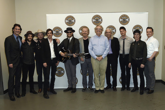 Pictured (L-R): Country Music Hall of Fame and Museum editor Peter Cooper, Old Crow Medicine Show's Joe Andrews, Critter Fuqua, Cory Younts, Chance McCoy, Nashville Cat and session player on Blonde on Blonde Mac Gayden, Country Music Hall of Fame and Museum CEO Kyle Young, Nashville Cat and session player on Blonde on Blonde Wayne Moss, Old Crow Medicine Show's Ketch Secor, Kevin Hayes and Morgan Jahnig