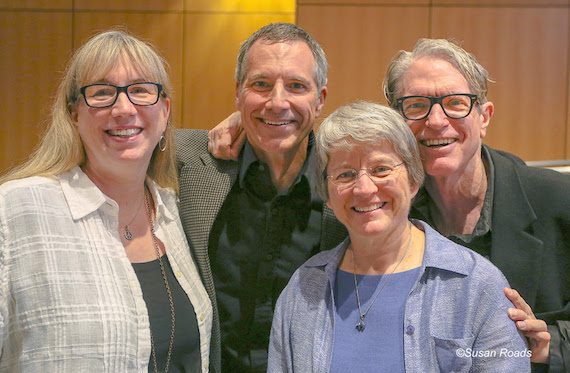 Pictured (L-R): Erin Huttlinger; Brian Gavron, MD, host and series coordinator; Dr. Lori Wick and Americana artist Sam Baker, the latest guest speaker at the Pete and Erin Huttlinger Series on Humanities in Medicine. Photo: Susan Roads
