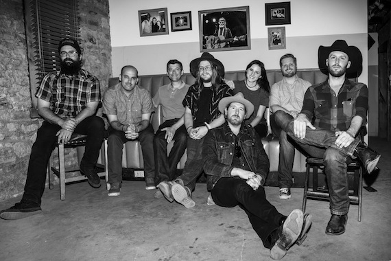 Pictured (L-R): Pat Adams, The Quaker City Night Hawks; Jonathan Insogna, WME; Logan Rogers, Lightning Rod Records; Sam Anderson, The Quaker City Night Hawks; Aaron Haynes, Sierra Bloodgood, C3 Management; Ryan Matteson, The Quaker City Night Hawks; David Matsler, The Quaker City Night Hawks. Photo credit: Lightning Rod Records