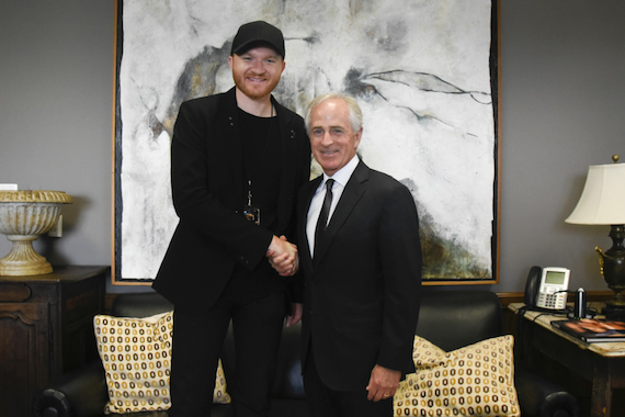 Eric Paslay and Sen. Bob Corker. Photo: Kris Connor/Getty Images for NAMM