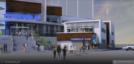 Rendering of Topgolf Nashville. Used by permission.