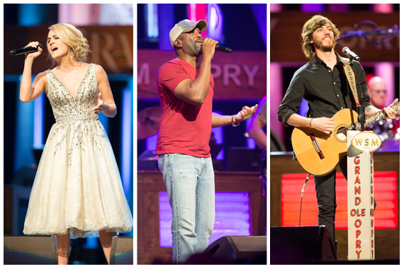 Pictured (L-R): Carrie Underwood, Darius Rucker, Chris Janson