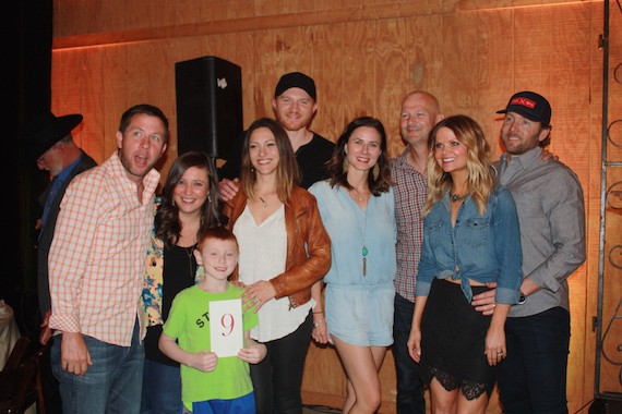 Pictured (L-R): The Bobby Bones Show's Lunchbox, St. Jude Patient Mack, Natalie Harker & Eric Paslay, Carrie and Rod Phillips, and the Bobby Bones Show's Amy