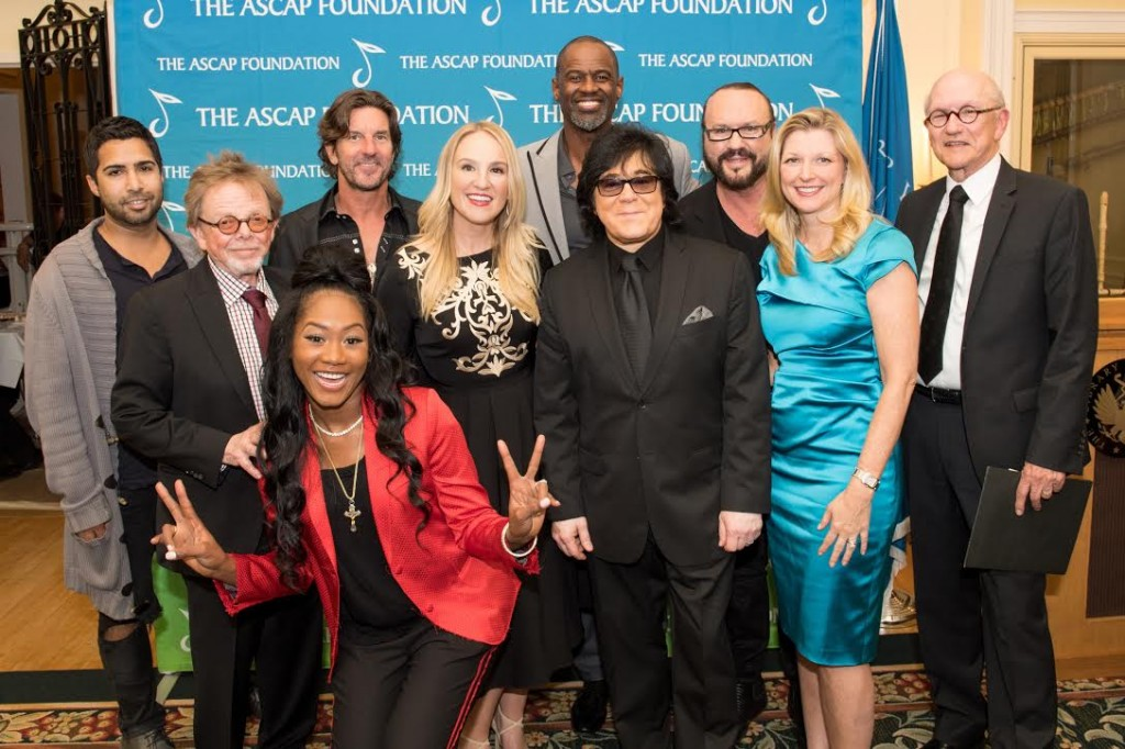 Pictured (L-R): Savan Kotecha, ASCAP President Paul Williams, Priscilla Renea, Brett James, MoZella, Brian McKnight, ASCAP EVP of Membership John Titta, Desmond Child, ASCAP CEO Beth Matthews, Randy Goodrum.