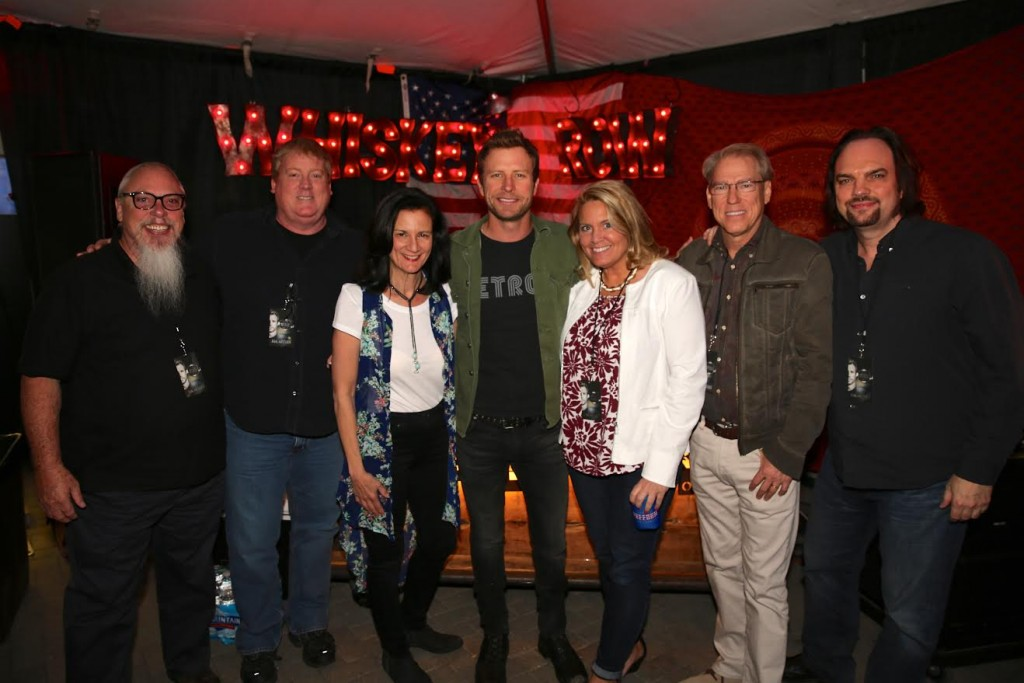 Bentley is pictured here with Spotify's John Marks, ASCAP's Mike Sistad, CMT's Leslie Fram, Apple's Sally Seitz, CMT's John Hamlin and MusicRow's Sherod Robertson