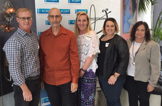 Pictured (L-R): John Ozier, ole, AIMP Exec. Director; David M Ross; Ree Guyer Buchanan, Wrensong Music, AIMP Treasurer; Kari Barnhart, Fifth Third Bank); Denise Nichols, The Primacy Firm.