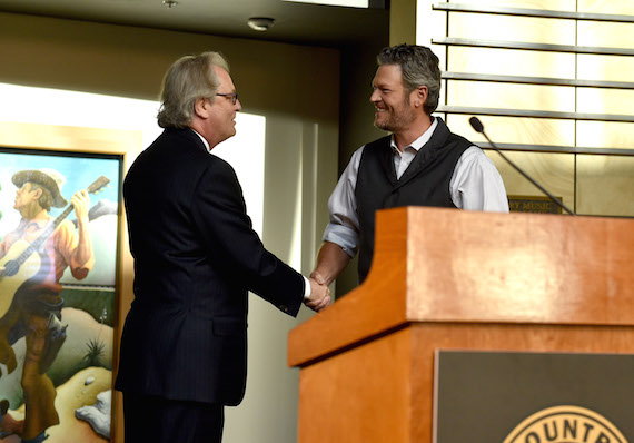"""NASHVILLE, TN - JUNE 06: CEO of the Country Music Hall of Fame and Museum Kyle Young and singer-songwriter Blake Shelton attend the debut of the """"Blake Shelton: Based on a True Story"""" Exhibit at Country Music Hall of Fame and Museum. Photo: John Shearer/Getty Images for Country Music Hall Of Fame & Museum"""