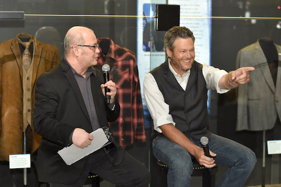 """Country Music Hall of Fame and Museum historian Michael McCall (L) interviews singer-songwriter Blake Shelton during the debut of the """"Blake Shelton: Based on a True Story"""" Exhibit at Country Music Hall of Fame and Museum on June 6, 2016 in Nashville, Tennessee. (Photo by John Shearer/Getty Images for Country Music Hall Of Fame & Museum)"""
