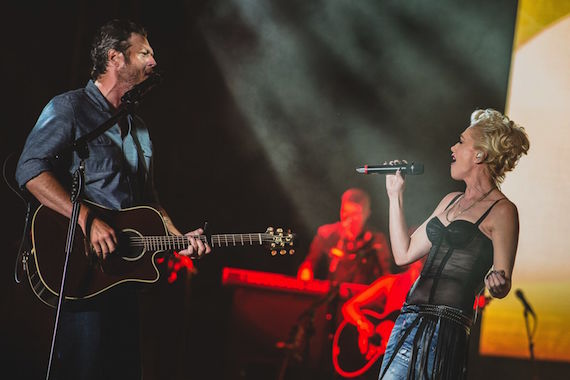 "Gwen Stefani helps Blake Shelton celebrate his 40th Birthday at 25th Anniversary Country Jam joining him onstage to perform their song ""Go Ahead And Break My Heart."" Photo: Joshua Timmermans / Country Jam"