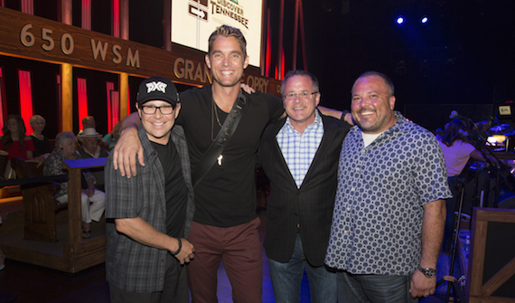 Pictured (L-R): Big Machine Label Group's Jimmy Harnen, Brett Young, Grand Ole Opry's Pete Fisher and Red Light Management's Van Haze